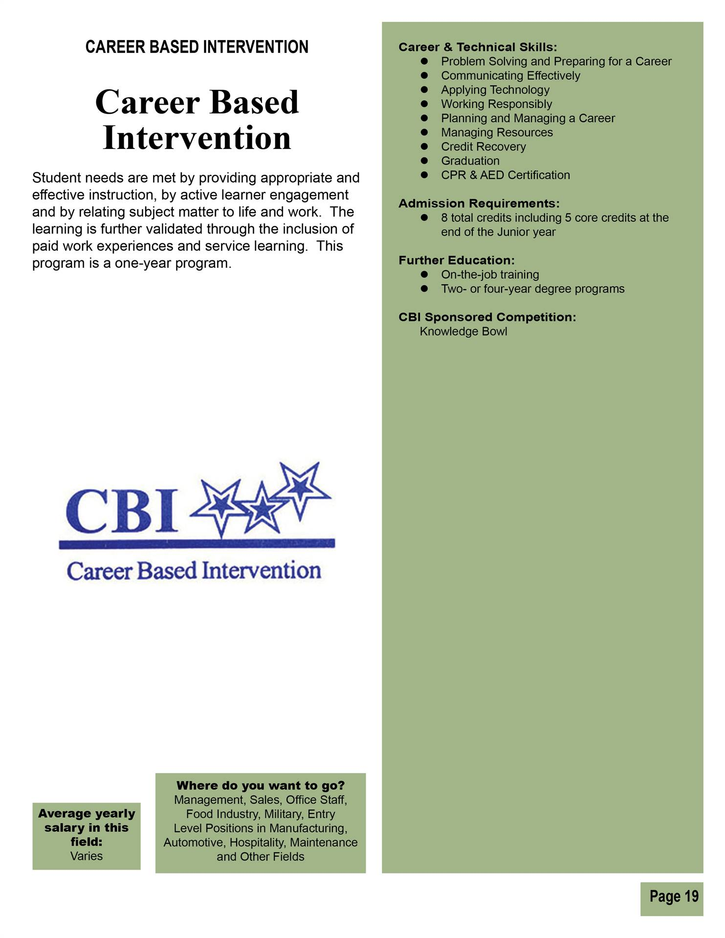 Career Based Intervention
