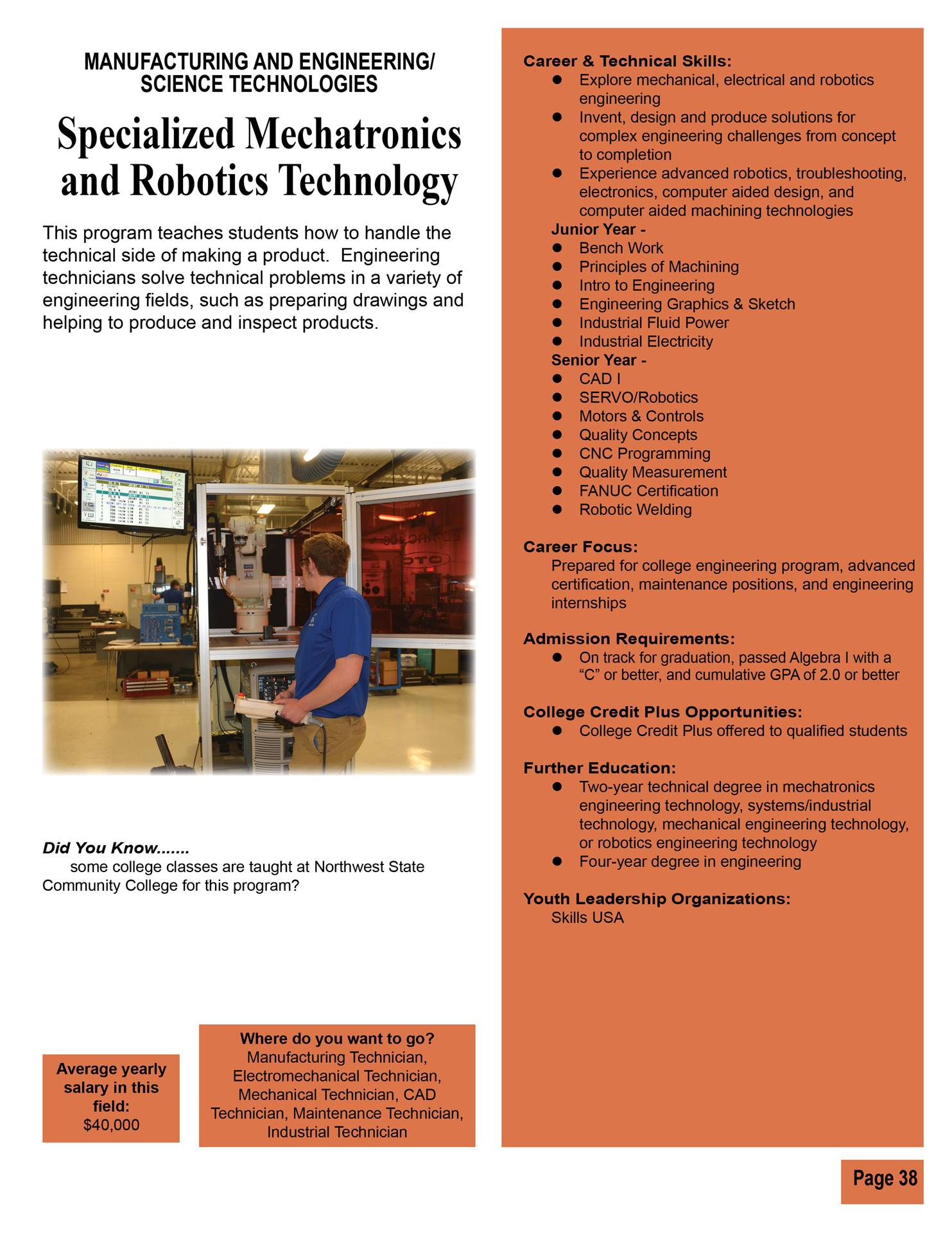 Specialized Mechatronics and Robotics Technology