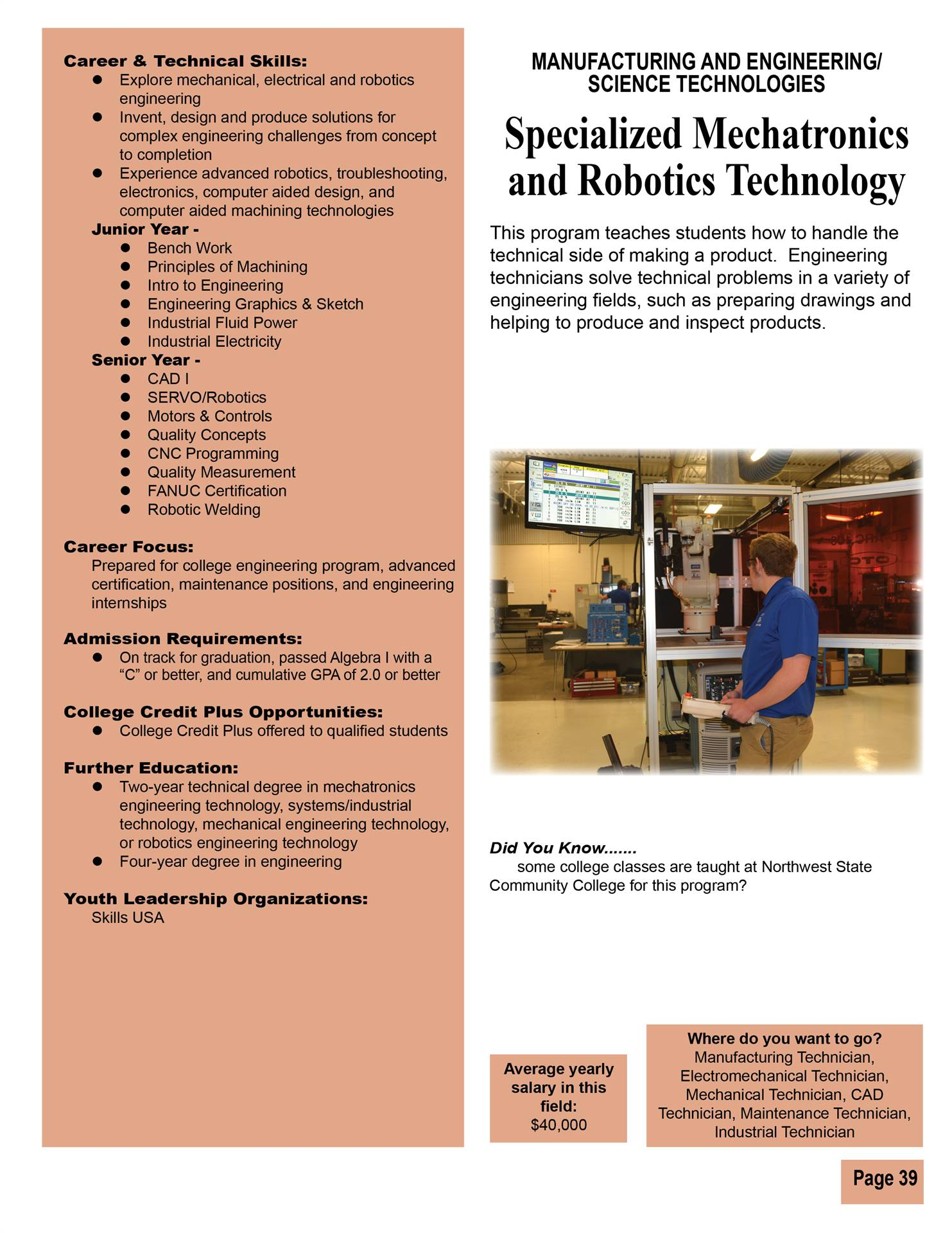 Specialized Mechatronics & Robotics Technology
