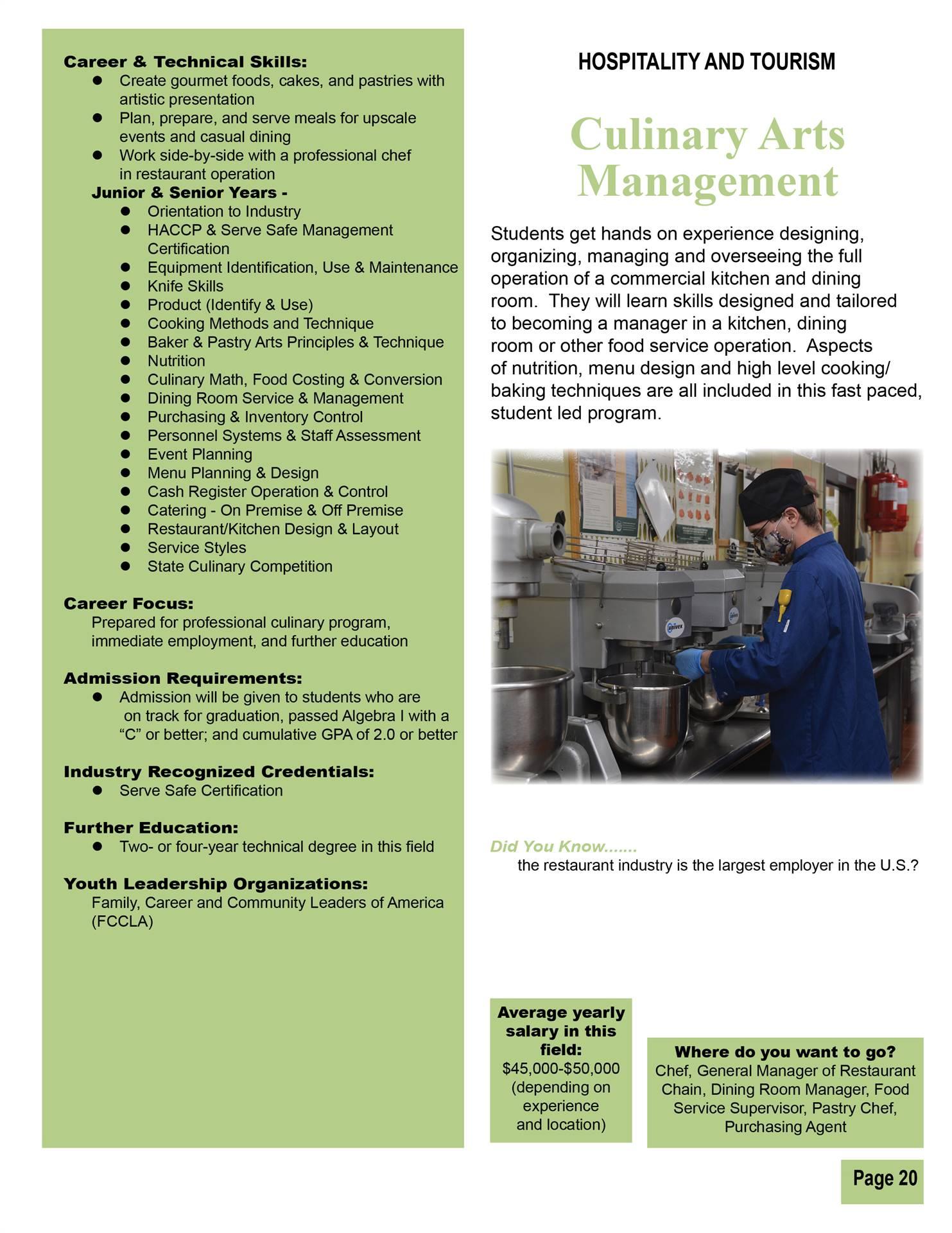 Culinary Arts Management