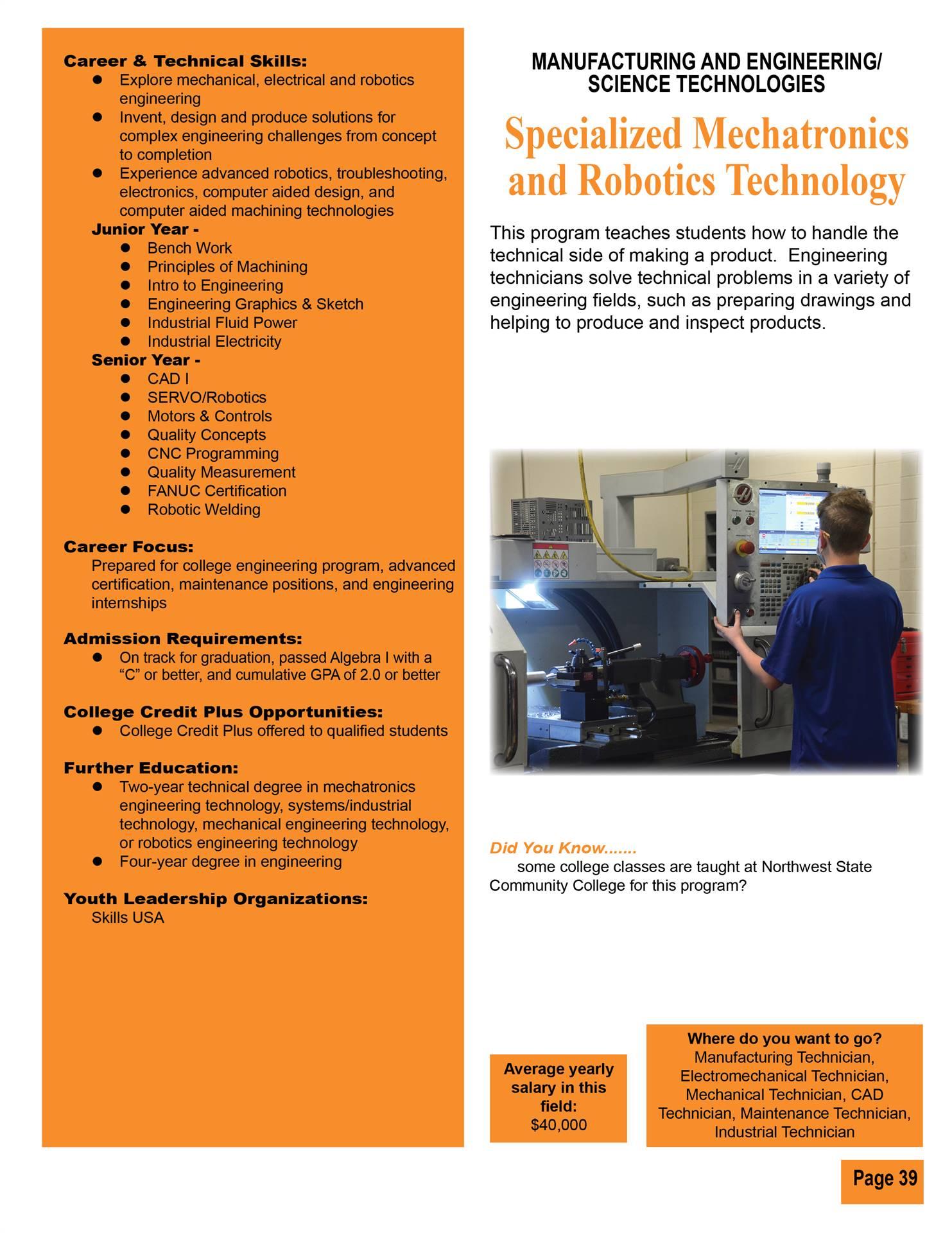Specialized Mechatronics & Robotics Technology