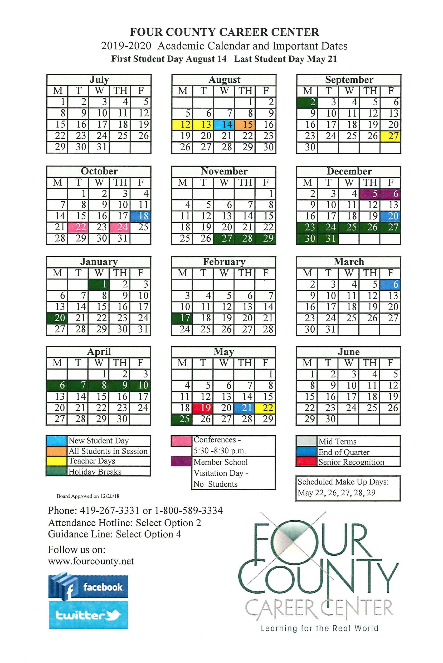 2019 -2020 School Calendar